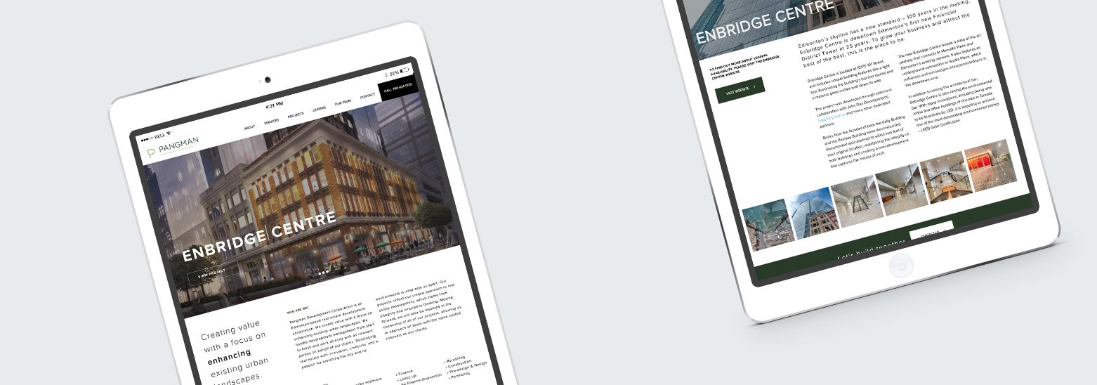 Pangman Development Corporation iPad Mockup