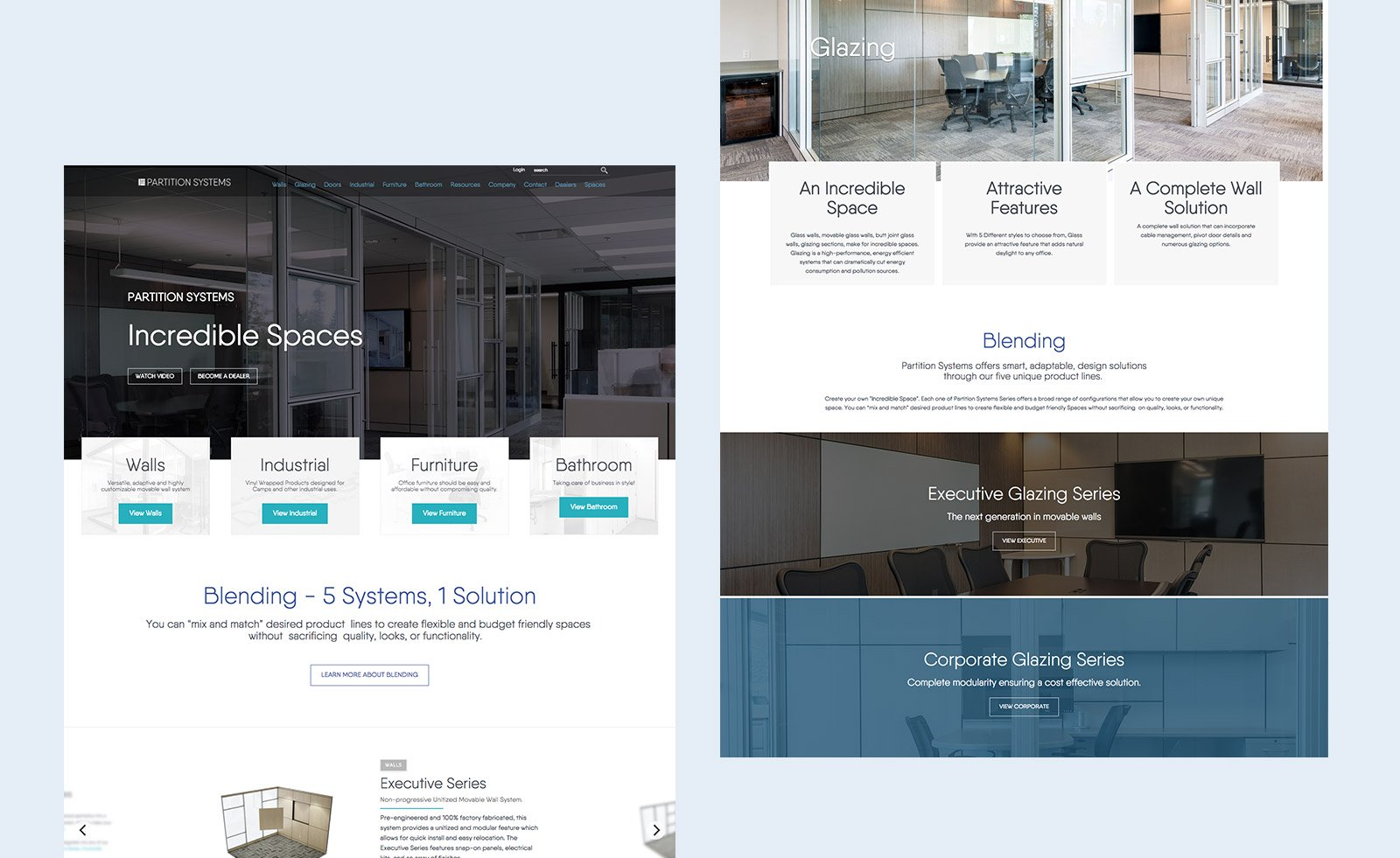 Partition Systems Website Mockup