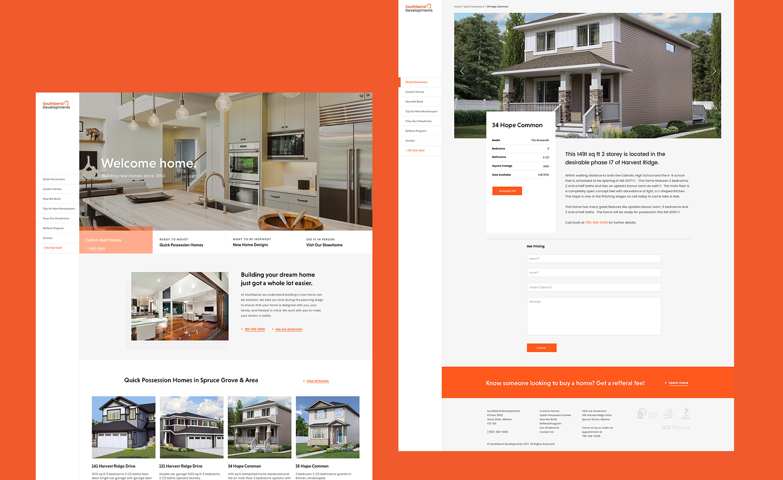 Southbend Developments Website Mockup