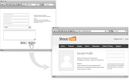 ShoutCMS work flows convert forms into page content with ease